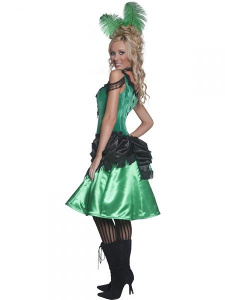 e2d06ed11904 Barovou kankánovou tanečnicí se můžete stát s tímto kostýmem z naší půjčovny.  Tvoří ho saténové černo-zelené šaty se zdobenými černými ramínky a spona do  ...